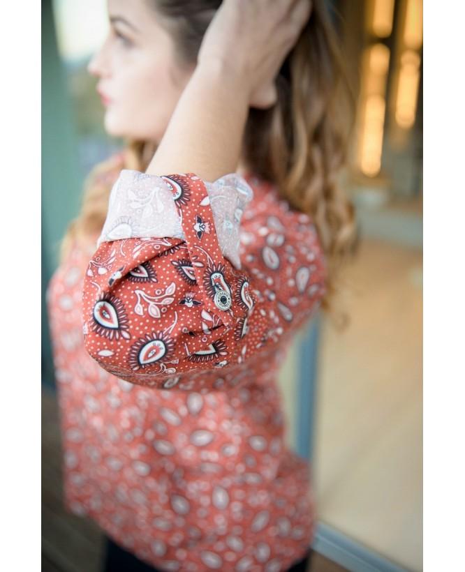 Détail bouton manche de la blouse hysteriko Clothilde Terra Cachemire