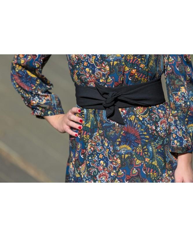Détail tissu et ceinture de la robe hysteriko Antoinette Tobacco bleu