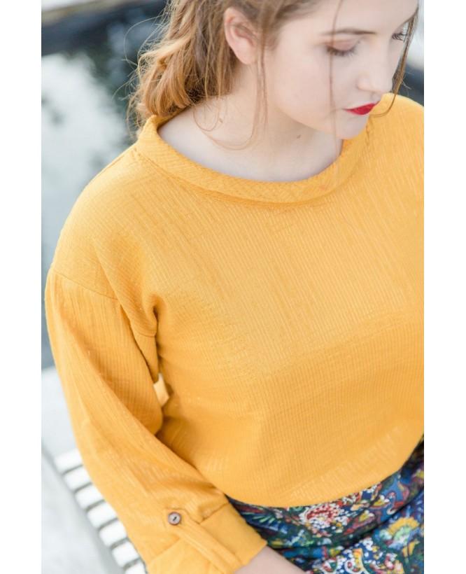 Vue de devant de la blouse hysteriko Clothilde Safran Lurex