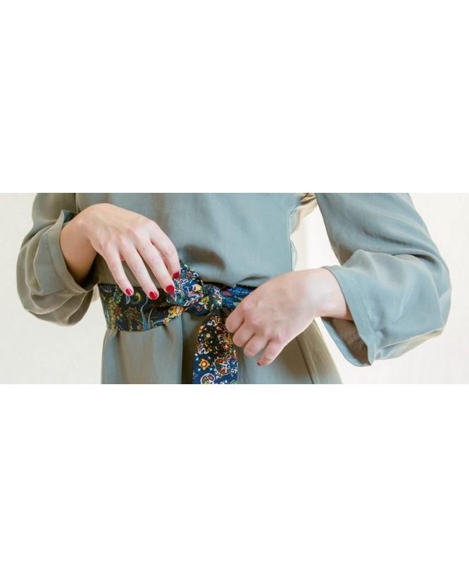 Détail tissu et ceinture de la robe Robe hysteriko Antoinette Vert Tilleul