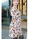 Vue de profil en pied de la Robe hysteriko Lucie Rose Paisley