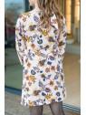 Vue de dos de la Robe hysteriko Lucie Rose Paisley portée sans ceinture