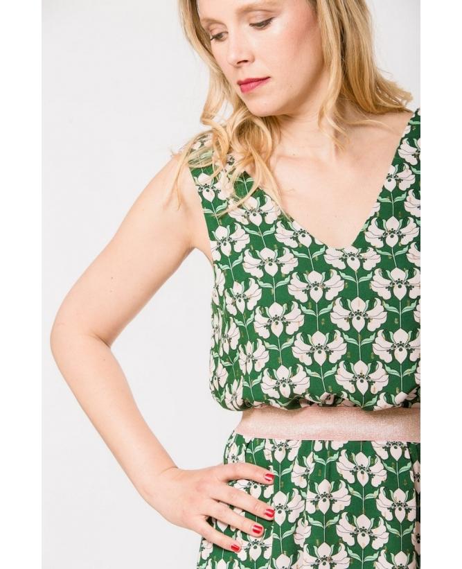 Détail encolure de la robe hysteriko Anita Psychedelic green