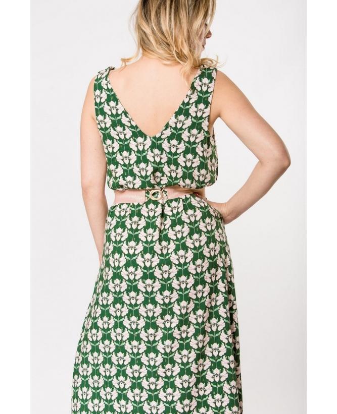 Vue de dos en pied de la robe hysteriko Anita Psychedelic green
