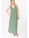 Vue de devant en pied de la robe hysteriko Anita Psychedelic green portée sans ceinture